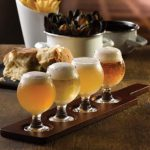 Wooden tasting paddle with Belgium taster glasses