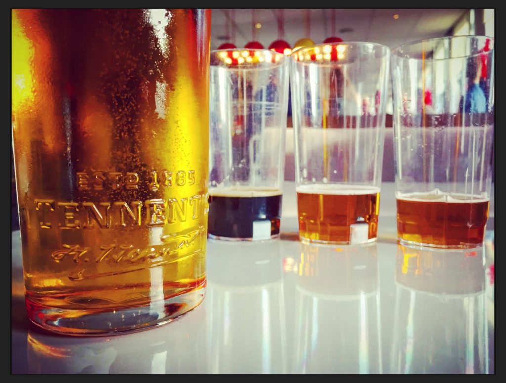 Beer tasting on a Tennent's tour