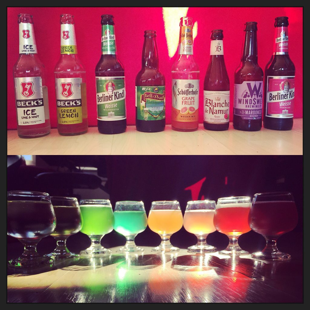 multi coloured beers